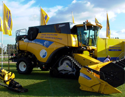 New Holland Combine harvester at agricultural show