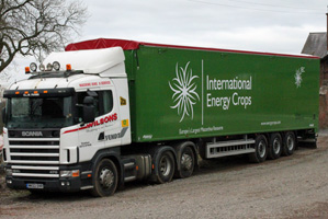 Lorry full of miscanthus energy crop for biomass fuel